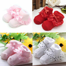 Baby Newborn Girls Non-slip Soft Socks Cotton Warm Princess Bowknots Boot Socks