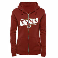 Harvard Crimson Women's Double Bar Full Zip Hoodie - Crimson - College