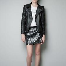 New Womens Sexy Black Covered Studs Leather Motorcycle Coat Jacket Moto Sz @@