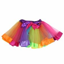 Girls Kids Rainbow Ballet Dance Tutu Skirt Party Tulle Dress Pettiskirt Costume