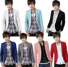 New Multi Color Mens Casual Jacket One Button Slim Fit Blazer Boy Jackets School