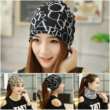 New Womens Solid Wool Beret Warm Beanie Hat Winter Multifunction Scarf Ski Cap +