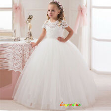 Kid Party Princess Pageant Bridesmaid Wedding Flower Girl Dress Prom ball White