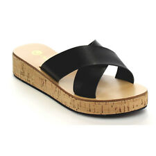 CHASE & CHLOE CC81 Women's Platform Low Wedge Heel Criss Cross Strap Sandals