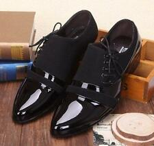 New Mens Casual faux patent leather Oxford black Splice Formal lined Dress Shoes