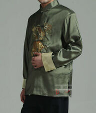 Traditional Chinese Embroidery Dragon Men's Silk Party Jacket Coat Tops M - 3XL