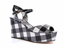 Dolce & Gabbana ankle strap wedges sandals shoes in black/white Patent Leather