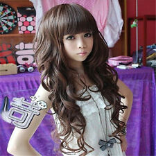 Girl's Wig Long Curly Wave Hair Womens Party Cosplay Full Wigs with Cap PO179