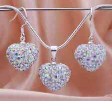 AB Clear Crystal 3D puffy LOVE HEART shamballa Pendant Necklace / Earrings / SET