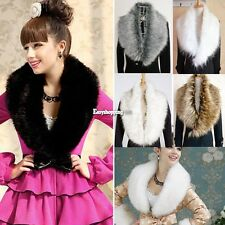 Women All-match Fluffy Faux Raccoon Fur Collar Shawl Wrap Shrug Scarf Stole