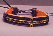 Christian Bracelet Antique Brass Finish Cross Leather Cuff VARIOUS STYLES COLORS