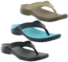 Crocs Capri V Flip Comfort Walking Leather Slip On Toe Post Womens Sandals UK4-9