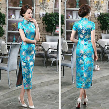 New Chinese Women's Silk Evening Dress Long Cheongsam SZ 6 8 10 12 14 Skyblue
