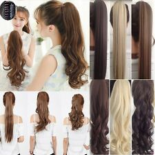 Extra Long Real Clip In Hair Extensions Claw Wrap Around Ponytail hairpiece d22