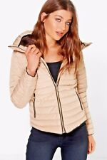 Womens Beige Stone Quilted Padded Puffer Bubble FurCollar Warm Thick Jacket Coat