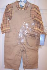 NWT First Impressions Boy's 3 Pc Tan Overalls Set Outfit, 6-9 Mos., $32