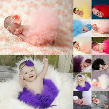 Baby Girls Newborn Headband Tutu Skirt Matching Hairband Photography Prop Outfit