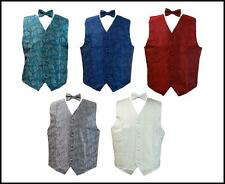 Men's Suit Tuxedo Wedding Dress Vest Necktie Bowtie Hanky Set Paisley Design