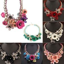 Statement Flower Necklace Choker Chunky Chain Bib Collar Pendant BF