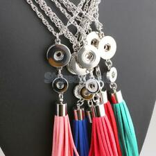 DIY Alloy Pendant With Necklace Fit Snap Chunk Button Vintage Leather Tassels