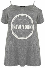 Plus Size Womens Marl Cold Shoulder Top With 'new York' Beading & Print