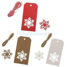 Wholesale 100pcs Christmas Snowflake Kraft Tags Present Gift Labels Hang Tag