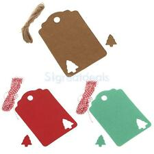 100 Cut Out Christmas Tree Kraft Paper Label Hang Tags Gift Cards Wedding Party