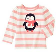 NWT Gymboree Girls Polar Pink Striped Pink Penguin Top Size 6-12 M