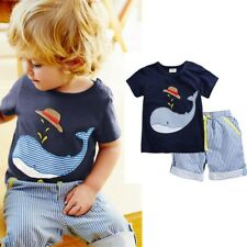 2pcs/Set Toddler Kids Baby Boys Outfits whale T-shirt tops+ shortsClothes suits
