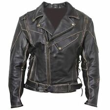 Vintage Classic Distressed Terminator Brando Biker Cow Hide Leather Jacket