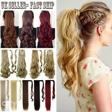 UK STOCK 100% Long Clip In Hair Extensions Blonde Brown Wrap/Clip On Pony L2r