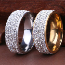Wedding Size 8-10 Rhinestone Point Stainless Steel Ring Band Rings Gold Silver