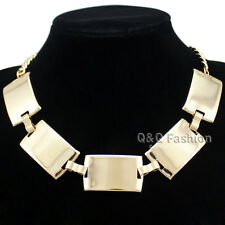 Egypt Cleopatra Celebrity Bold Curved Bar Statement Choker Collar Bib Necklace H