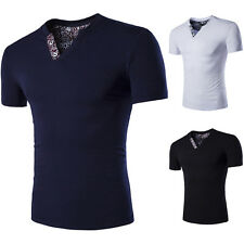 Fashion Mens Summer V Neck Casual Slim Fit Muscle Tops Short Sleeve T-shirt New