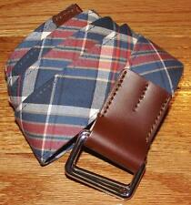 NWT NEW Mens Brooks Brothers D-Ring Belt Madras Plaid Cotton Leather