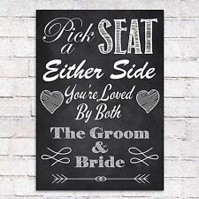 VINTAGE CHALKBOARD STYLE PICK A SEAT EITHER SIDE WEDDING SIGN PRINT OR CANVAS