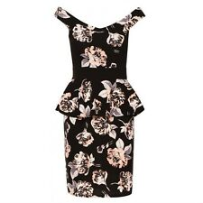 Womens peplum floral sleeveless party casual birthday bodycon fit autumn dress