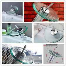 NEW Basin SINK Faucet Waterfall TAP Bathroom Copper Glass Mixer Polished Chrome