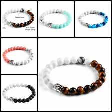 1PC Women/Men Multi-Color Bead Bracelet Silver Buddha Bangle Fashion Jewelry Hot