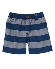 NWT Gymboree Boys Hippos and Blues Striped Chambray Shorts Size 0-3-6-12-18-24 M
