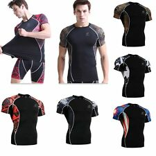 Mens Compression T Shirts Short Sleeve Weight Liftng MMA Fitness Base Layer TOPS