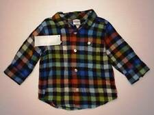 NWT Gymboree Boys Green Blue Red Plaid Flannel Collar Shirt Size 6-12 M
