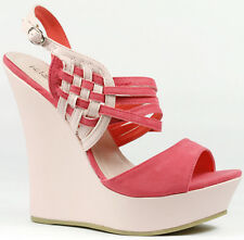 Hot Pink Two Tone Faux Suede Strappy Slingback Open Toe High Heel Platform Wedge