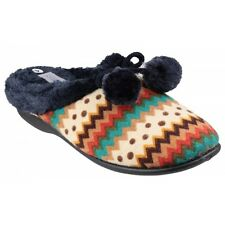Mirak CHABILIS Ladies Womens Slip On Mule Pom Pom Warm Slippers Navy Pattern