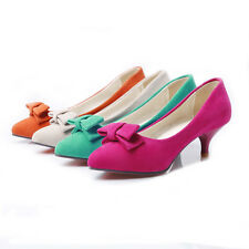 Cute Womens Middle Heels Shoes Shallow Mouth Bowknot Pumps US Size BD5832
