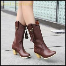 Hot Sale Womens PU Leather Tassels Retro Block Mid Calf Boots Riding Boots Shoes