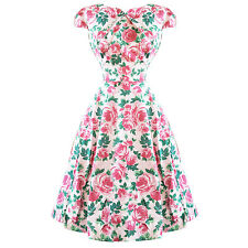 Hearts & Roses London Vintage Rose Floral Vintage 1950s Flared Party Tea Dress U
