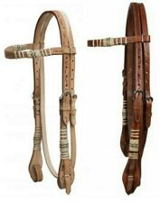 WESTERN SADDLE HORSE BRIDLE HEADSTALL WITH RAWHIDE BRAIDING & REINS LIGHT OR MED