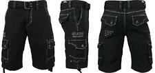 NEW MENS AFFLICTION BLACK LIQUID SKY CARGO SHORTS SIZE 36 LOOSE FIT  BELTED