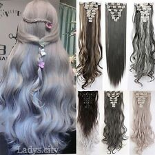 Full Head 8 Pcs Synthetic Clip in Hair Extensions Long Curly Straight Womens T3g